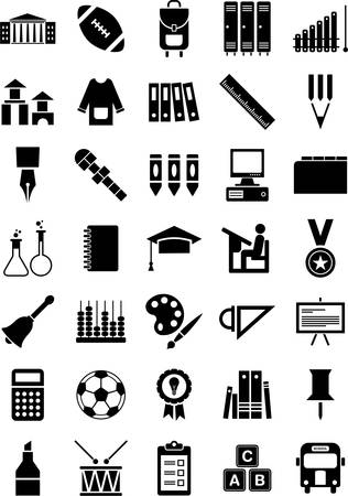 School and education icons Иллюстрация