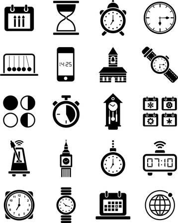 ébredés: Órák és idő ikonok Illusztráció