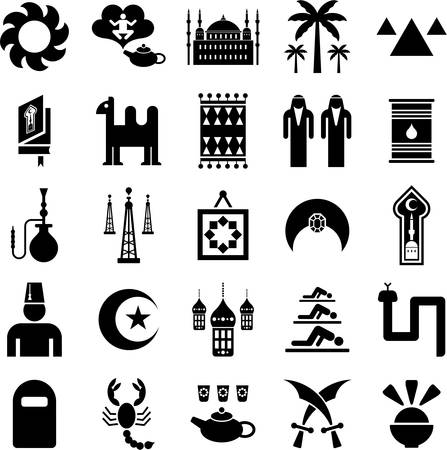 moon  desert: Arab countries icons Illustration