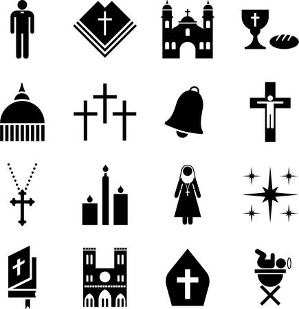 people in church: Religion icons Illustration