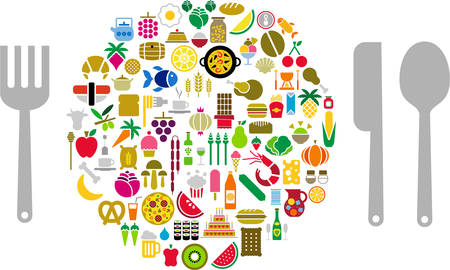 Food and Beverage icons in form of sphere with silverware Illustration