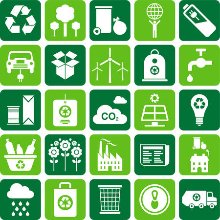 save the planet: Recycling icons