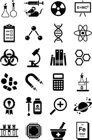 pharmaceuticals: Science icons Illustration