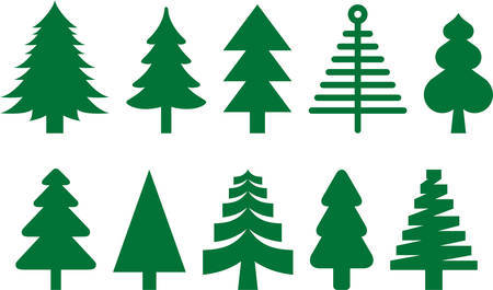 tree decorations: Set of Christmas trees