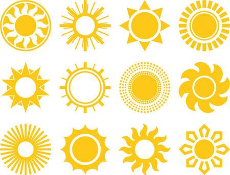 Set van gevectoriseerd Suns