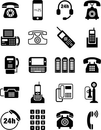 ancient telephone: Phone icons Illustration