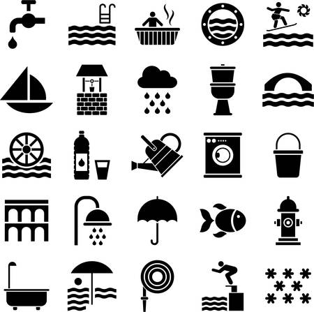 web design bridge: Set of icons related with water