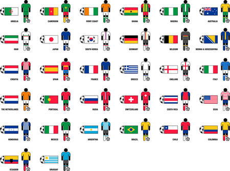 football fan: Soccerl Players, Soccer Ball and Country Flags