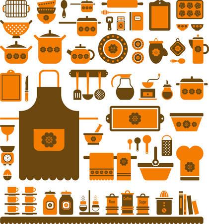 drainer: Kitchen Retro Utensils Illustration