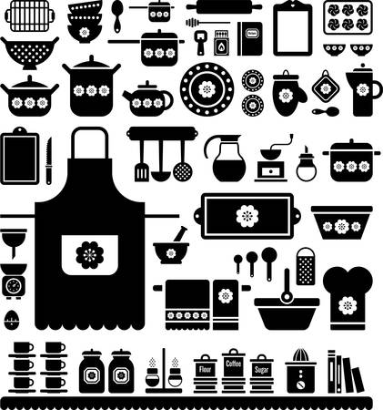 old kitchen: Kitchen Retro Utensils Illustration