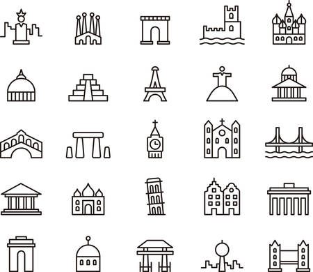 golden gate: MONUMENTS outlined icons Illustration