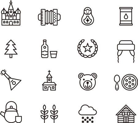matrioshka: RUSSIA outlined icons Illustration