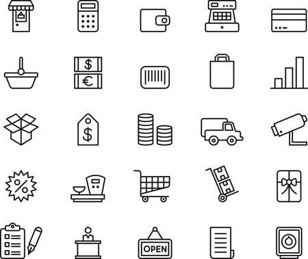 maquina registradora: Iconos de las compras se indica Vectores