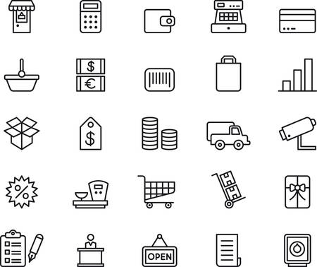 cash machine: SHOPPING outlined icons