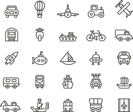 수송: 교통 아이콘을 설명 일러스트