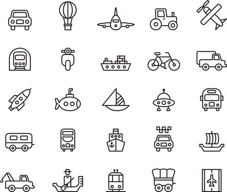 szállítás: KÖZLEKEDÉS vázlatos ikonok Illusztráció