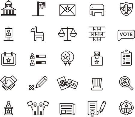 TATS-UNIS POLITIQUE décrit icônes Banque d'images - 45315504