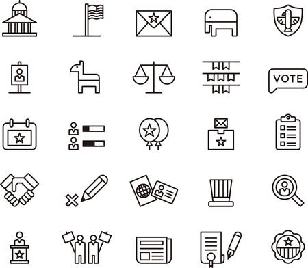 vote: UNITED STATES POLITICS outlined icons