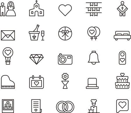 HUWELIJK en LIEFDE geschetste pictogrammen Stock Illustratie