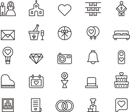wedding cake: WEDDING and LOVE outlined icons
