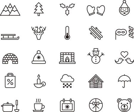 muerdago: INVIERNO esboz� iconos Vectores