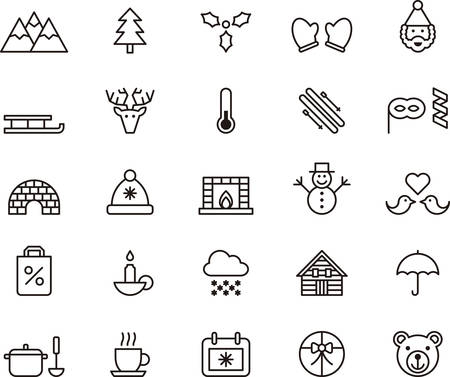 winter holiday: WINTER outlined icons