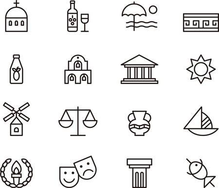 vasi greci: GRECIA delineato icone