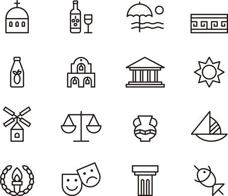 GREECE outlined icons Illustration