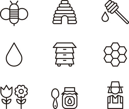 outlined: BEES and HONEY outlined icons