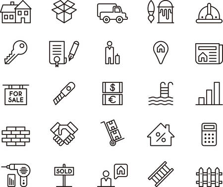 REAL ESTATE geschetst pictogrammen Stock Illustratie