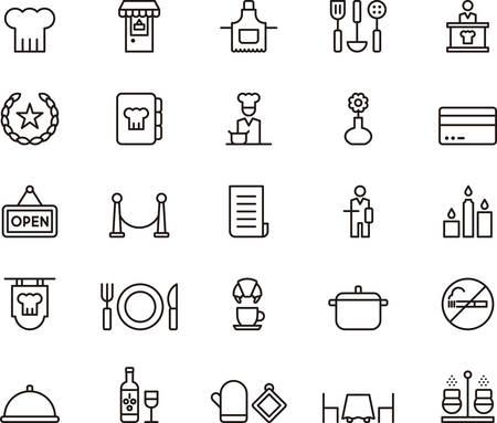 ustensiles de cuisine: RESTAURANT décrit icônes