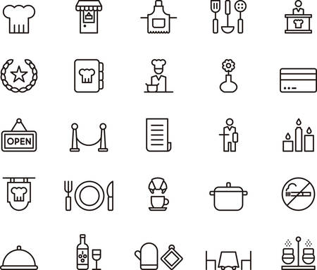 RESTAURANT outlined icons Vettoriali