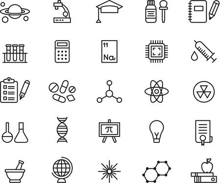 science icons: SCIENCE outlined icons