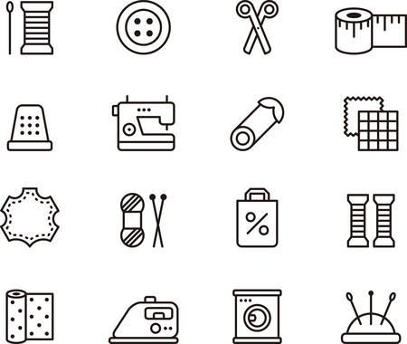 Naaien en FASHION geschetste pictogrammen