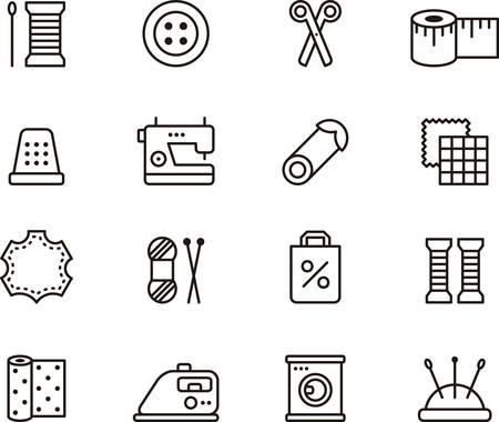 needles: SEWING and FASHION outlined icons