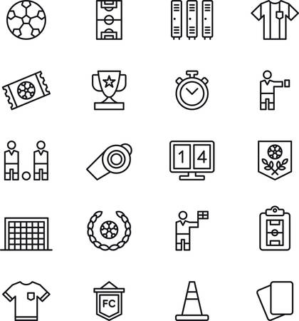soccer game: SOCCERFOOTBALL outlined icons