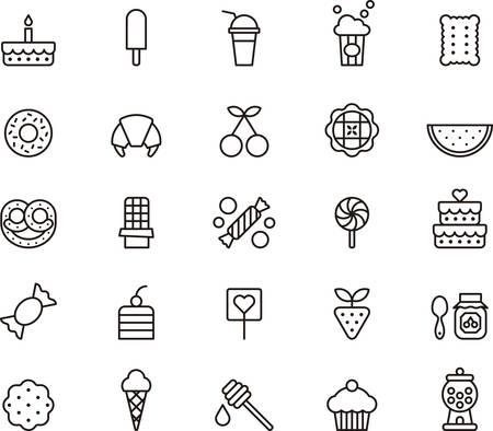 s�ssigkeiten: S��igkeiten und Bonbons umrissen Symbole Illustration