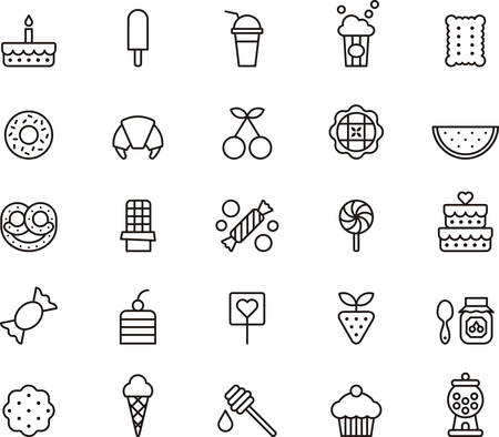 gateau anniversaire: Sucreries et bonbons décrit icônes Illustration