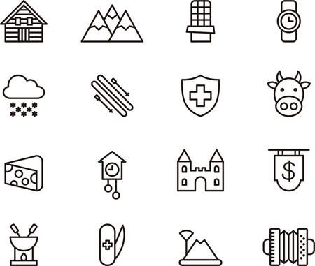 swiss alps: SWITZERLAND outlined icons Illustration