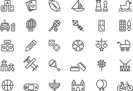 dados: iconos de juguetes descritos