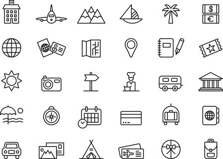 TRAVEL and VACATION outlined icons Vectores