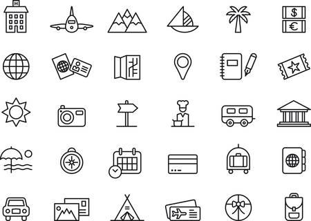 voyage: Voyages et vacances indiqué icônes