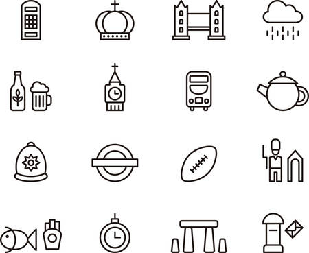 uk: UK and LONDON outlined icons