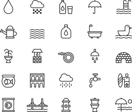 WATER RELATED outlined icons