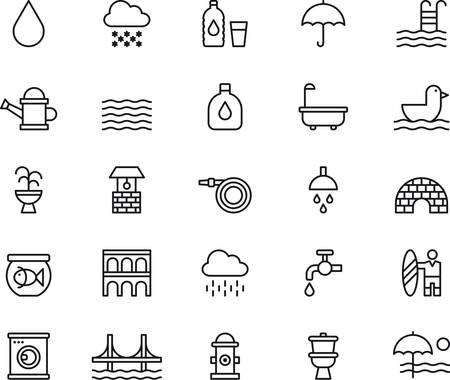 Watergerelateerde geschetst pictogrammen