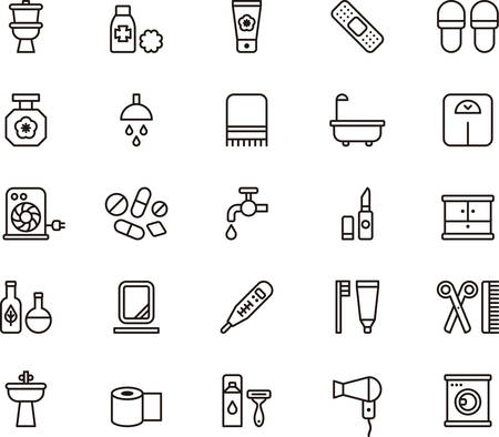 BATHROOM outlined icons Illustration
