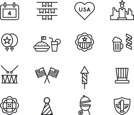 flags vector: 4th July outlined icons