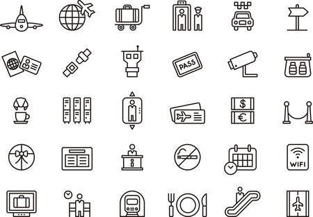 travel icon: AIRPORT outlined icons Illustration