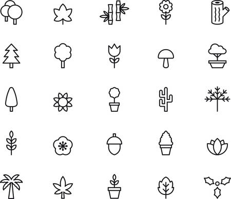 FLOWERS, PLANTS and TREES outlined icons Illustration