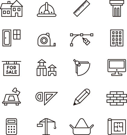 architect plans: ARCHITECTURE and CONSTRUCTION outlined icons Illustration